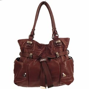 b. makowsky brown leather hobo/satchel